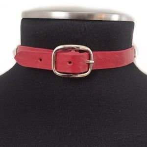 BCBGENERATION CHOKER NECKLACE COLLAR LEATHER RED